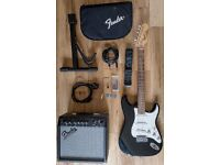 Fender Squier STRAT electric guitar bundle (guitar, amp, stand, case & accessories)