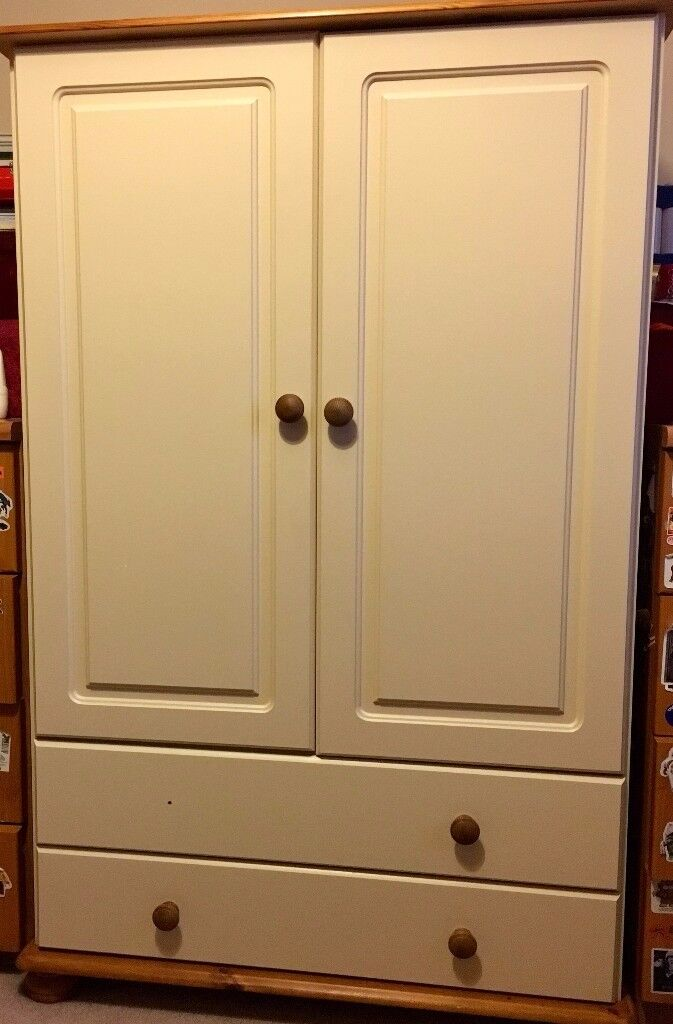 SHORT OFF-WHITE CREAM WOOD & PINE WARDROBE WITH DRAWERS: EXCELLENT CONDITION