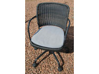 SWIVEL DESK CHAIR IN CHARCOAL GREY/BLACK BASKET WEAVE WITH GREY CUSHION