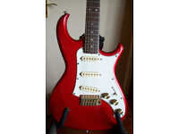 "1982 Aria Pro II RS Deluxe V, in ""hot red"" (metallic)."