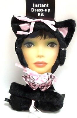 Cat Ears Tail Halloween Costume (Sexy Plush Kitty Ears Tail Bowtie Black Cat Halloween Costume)