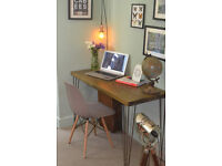 Rustic Industrial Desk & Grey Chair hairpin leg table