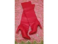 NEW Pair of Panelled Long Red Boots Bespoke Handmade High Heel Size 42 (7/8) Winter/ Christmas