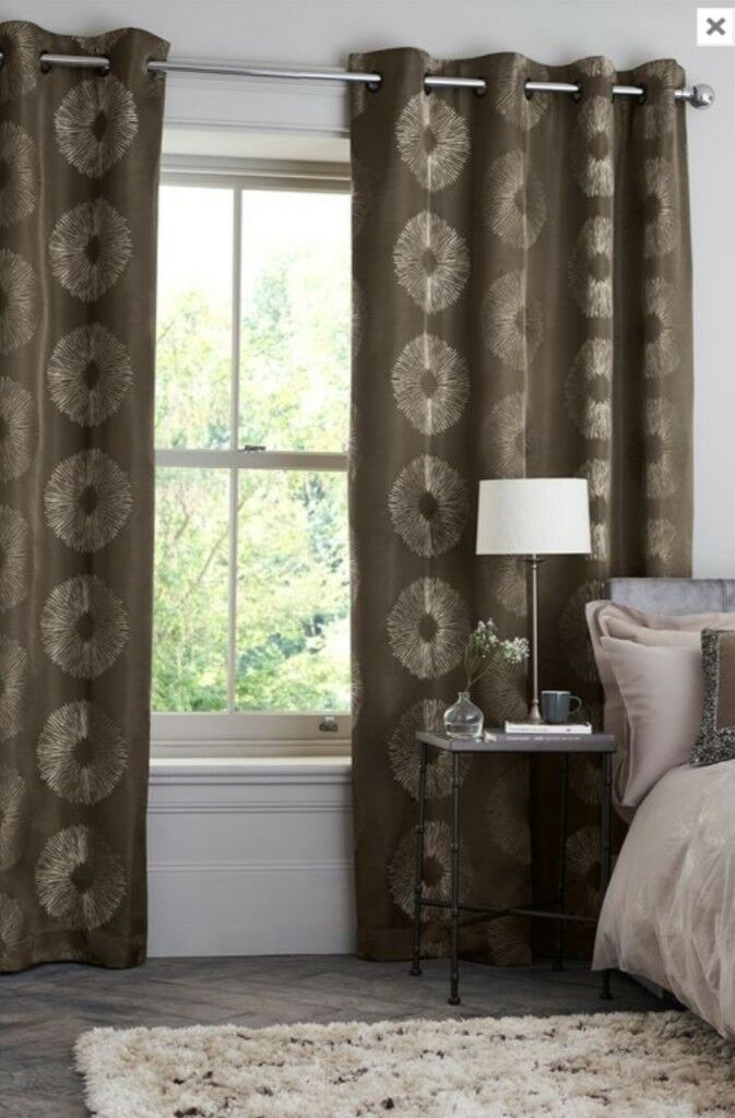 Next Luxe Circle Embroidery Eyelet Curtains 135cm By 229cm