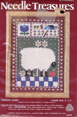 Needle Treasures COUNTRY SHEEP Crewel Kit 00702 Johnson Creative Arts