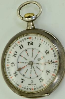 Rare antique Omega Grand-Prix silver GMT WORLD TIME pocket watch c1900's