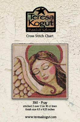 Pray XS3161 Angel Christmas Teresa Kogut Counted Cross Stitch Chart Pattern Angel Cross Stitch Chart