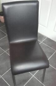 Faux leather padded dining chairs