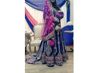 Asian Bridal Lengha Blue And Pink