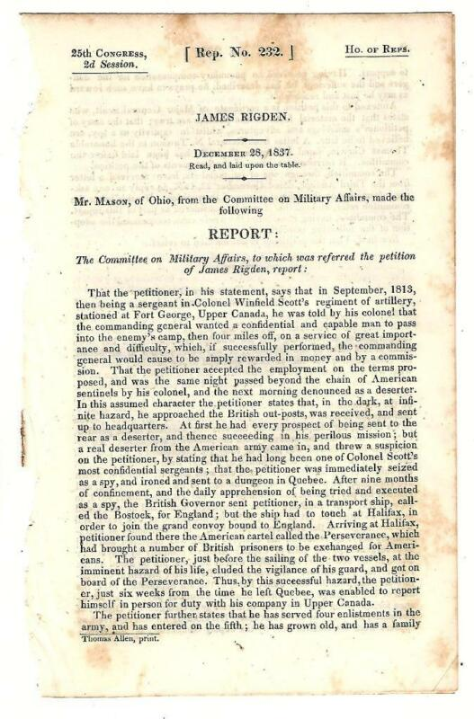 1837 Comte. Military Affairs: James Rigden Petition Pay As Spy War Of 1812