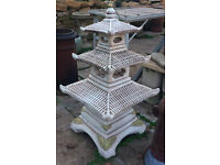 Three tier Japanese Pagoda Garden Ornament Reconstituted Stone 95 cm tall £129 collect only
