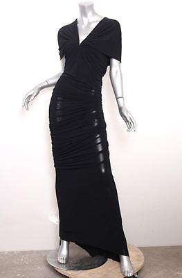 LANVIN Ete 2012 $3930 Womens Black Knit Ruched V-Neck Gown Dress 38/6 S NEW NWT