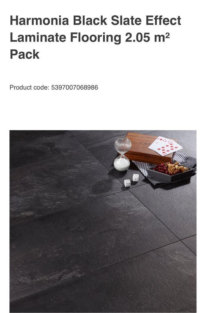9 New Packs Of Harmonia Black Slate Effect Laminate Flooring