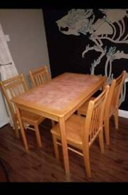 Table with tiles + 4chairs