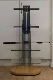 "ORI2-S4-OAK TV Stand for Up To 52"" Flat TVs 2 Shelves + Off The Wall Soundbar SE11 5NG KENNINGTON"