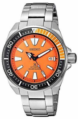 New Seiko Automatic Prospex Samurai Divers Orange Dial Mens Steel Watch Srpc07