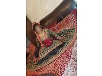 Bridal Lengha black, gold & red - Khushboo's by Chand and Jewellery set red & gold