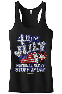 Threadrock Women's 4th of July National Blow Stuff Up Day Racerback Tank Top - 4th Of July Stuff