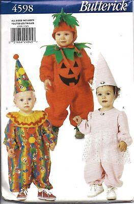 Pumpkin Halloween Costume Pattern (4598 UNCUT Butterick Pattern Baby Costume Pumpkin Clown Princess Fairy)