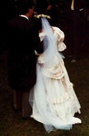 Vintage Laura Ashley Cotton Wedding Dress, c1984, Size 8-10, plus train and veil
