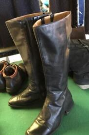 Black Leather Knee High Boots, Standard width, size 7