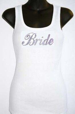 RHINESTONE (BRIDE) TANK TOP WHITES SIZE:S,M,L,XL,2XL,3XL,WEDDING SHIRT TOPS