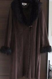 sheepskin style brown coat