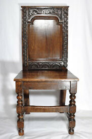 Antique oak chair circa 1680s sea serpent carving