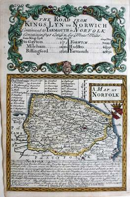 NORFOLK  YARMOUTH NORWICH c1720  BY EMANUEL BOWEN GENUINE ANTIQUE ENGRAVED MAP