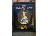Cameron's Queens Head pub sign for sale. Original Cameron's brewery sign