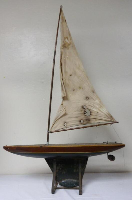 "Antique Large Pond Boat Mahogany/Metal/Lead Keel 46"" Mast Restoration Dream!"