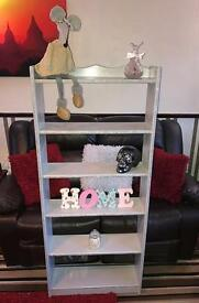 Beautiful grey crystal shabby chic shelving unit