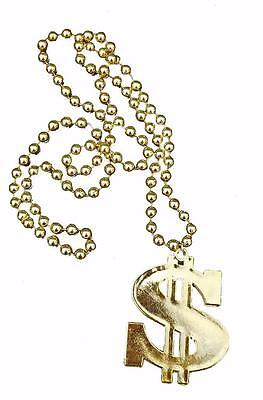 Gold Dollar Sign Necklace Medallion Bling Rapper Gangsta Pimp Costume - Gold Dollar Sign Necklace