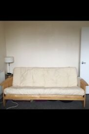 3 seater sofa bed, wood frame