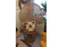 70's rattan peacock chair