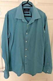 """BURTON new mens easy iron green shirt size Medium collar 15.5""""-16 """" Bargain"""