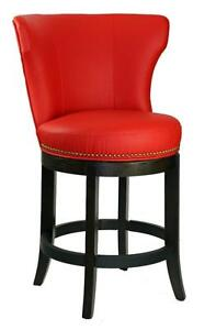 Vibrant Red Swivel Leather Counter Stool