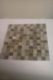 8 x 300mm x 300mm stone and glass Brown/ Beige Mosaic Tiles, can be split and used as border tiles