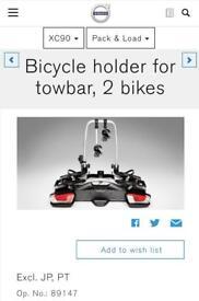 Volvo XC90 towbar mounted bike rack