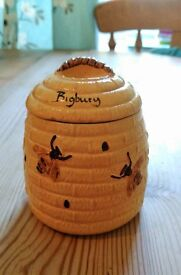 Honey Pot With Lid Ornament, Bees, Bigbury, Collectable
