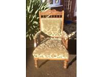 Antique Edwardian Oak Carved Fireside Chair Library Chair