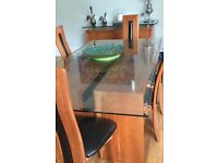McDonald's Walnut Dining Table& 6 chairs with matching Sideboard