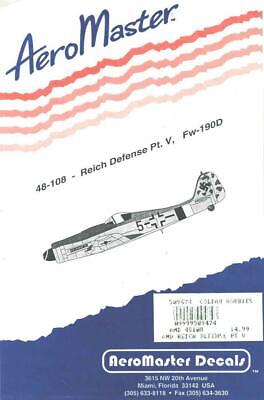 1:48 Reich Defense Part V Doras Fw-190D AeroMaster Model Decals Sheet NOS 108