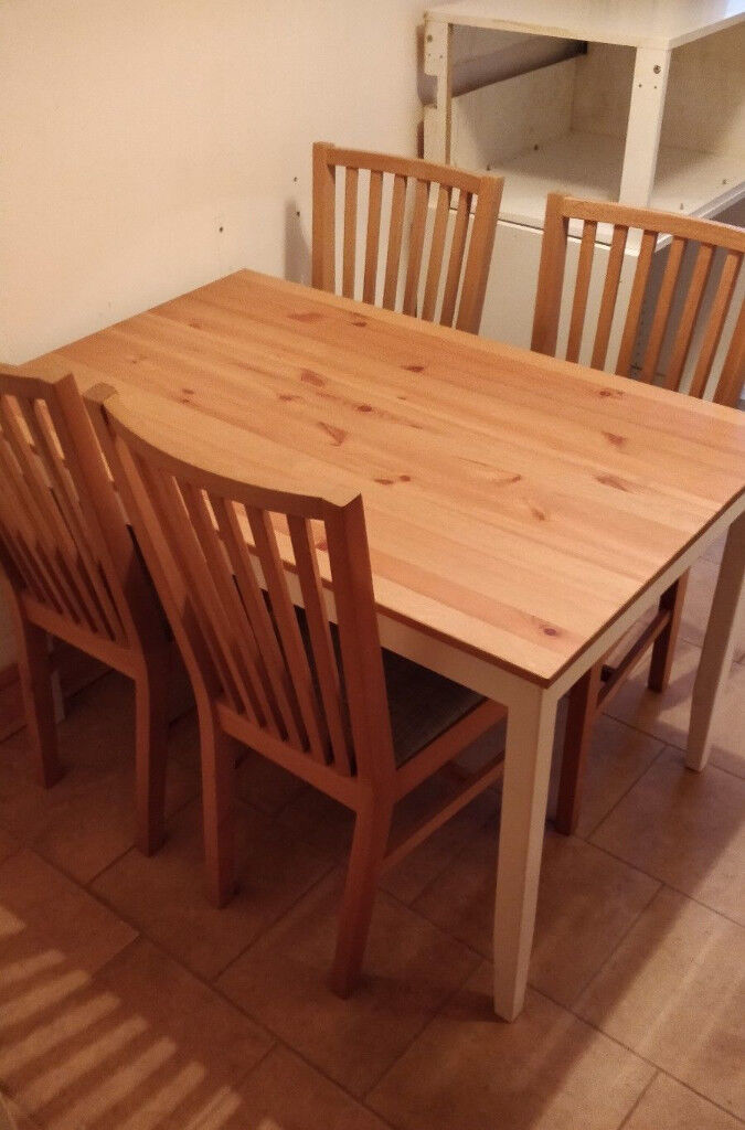 Ikea Pine Dining Table And 4 X Narrnas Solid Oak Chairs