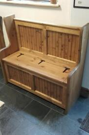 Pine pew monks bench chest