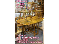 butterfly pine tqble with 4 chairs