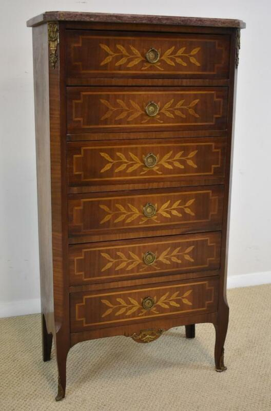 French Six Drawer Marble Top Mahogany & Satinwood Lingerie Chest Circa 1920