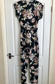 Brand New Boohoo Black Print Cross over Jumpsuit with Belt Size UK 10 Size UK 10