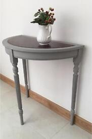 VINTAGE PAINTED HALL TABLE With LEATHER TOP SHABBY CHIC