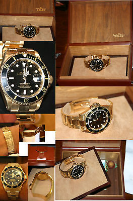 ROLEX SUBMARINER ALL 18K GOLD BLACK FACE /BOX/PAPERS -191.7  GRAMS 6 EXTRA LINKS